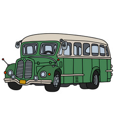 Vintage green and cream bus vector