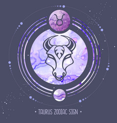 Witchcraft card with astrology taurus zodiac sign vector