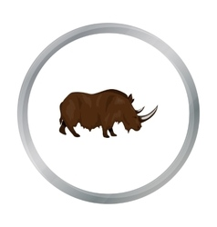 Woolly rhinoceros icon in cartoon style isolated vector