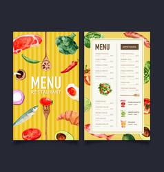 World food day menu design with broccoli fish vector
