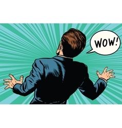 Wow reaction man fear retro comic pop art vector