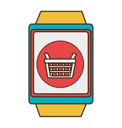Yellow square watch with shopping and media icon vector