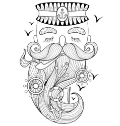 zentangle old sailor smoking a pipe vector image