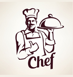 chef stylized portrait culinary and restaurant vector image vector image