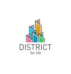 Colorful real estate buildings contour logo vector image