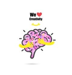 Creative brain logo design template vector image
