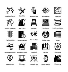 pack of maps and navigation glyph icons 4 vector image