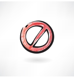 red ban grunge icon vector image vector image