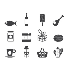 Silhouette food and drink icons 1 vector