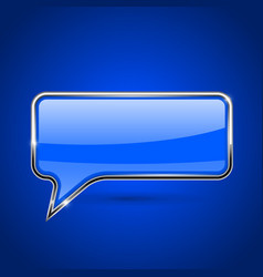 speech bubble blue 3d icon with chrome frame vector image vector image
