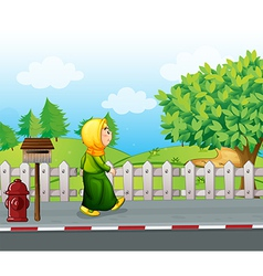 An old woman walking at the streetside with a vector image vector image
