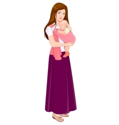 Mom holding baby in sling Beautiful young mother vector image vector image