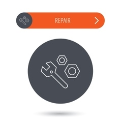 Repair icon Spanner tool with screw-nut sign vector image