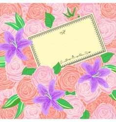 Roses and Lilies background vector image
