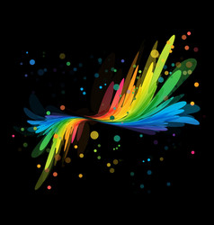 splash multicolored element on black vector image vector image