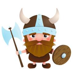 viking cartoon character with an ax and a shield vector image vector image