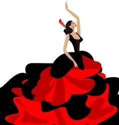woman and flamenco vector image
