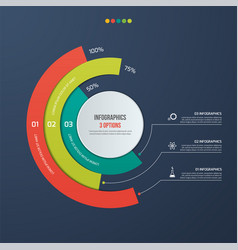circle informative infographic design 3 options vector image vector image