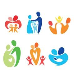 happy family icons set vector image