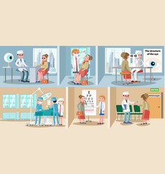 healthcare ophthalmology horizontal banners vector image