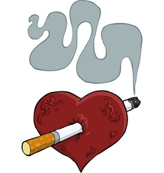 heart with a cigarette vector image
