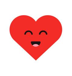 cute cartoon emoticon happy heart in modern flat vector image vector image