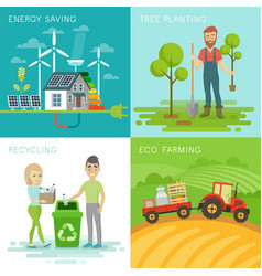 eco set recycling planting trees energy saving vector image vector image