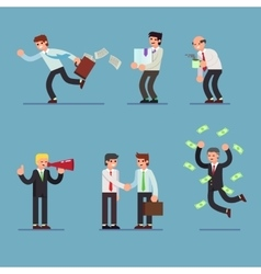 Flat Set of business people Businessman in vector image