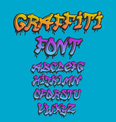 graffity alphabet hand drawn grunge font vector image