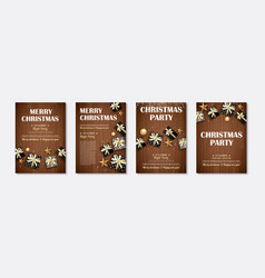 Merry christmas and party gift box invitation vector