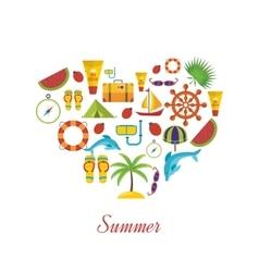 Summer holiday flat icons set vector image vector image