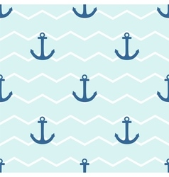 Tile sailor pattern with anchor on stripes vector image vector image
