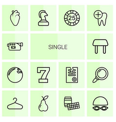 14 single icons vector