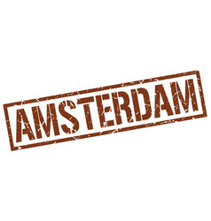 amsterdam brown square stamp vector image