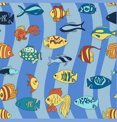 aquarium fish on the blue waves pattern vector image