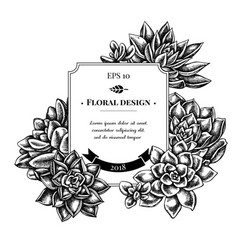 Badge design with black and white succulent vector
