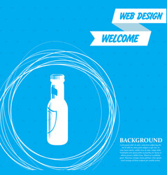 beer bottle icon on a blue background with vector image