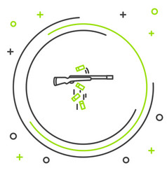 Black and green line gun shooting icon isolated on vector