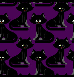 black cat seamless pattern pet ornament animal vector image