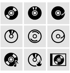 black cd icon set vector image