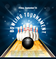 bowling tournament flyer template with bowling vector image