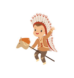 Boy wearing native indian costume and headdress vector
