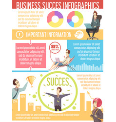 Business success cartoon infographic poster vector