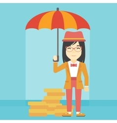 Business woman with umbrella protecting money vector image