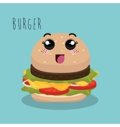 cartoon burger food fast facial expression design vector image