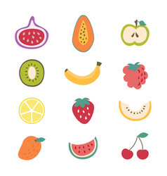 cartoon color different types fruits icon set vector image