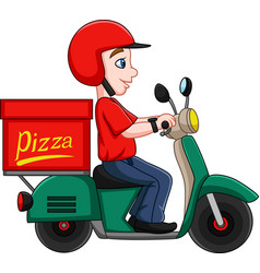cartoon pizza delivery man riding a scooter vector image