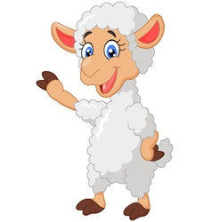 Cartoon sheep waving hand vector