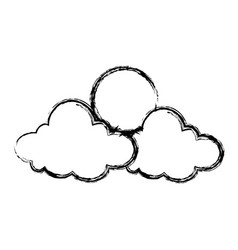 cartoon sun and cloud sky weather icon vector image