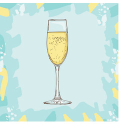 champagne glass sketch style vector image